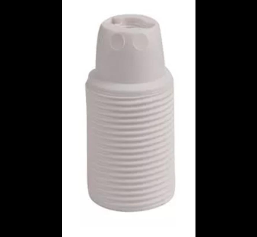 Kunststof E14 fitting met buitendraad - Wit