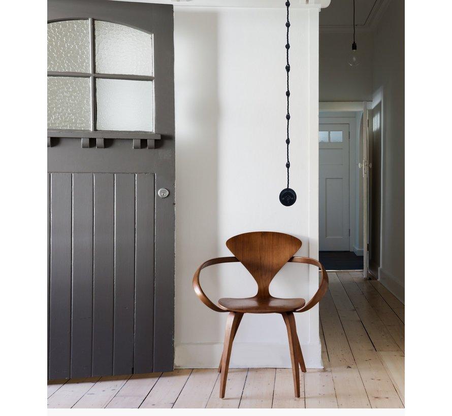 Wand-of plafondbevestiging porselein Zwart - Ø 18mm voor gedraaid snoer