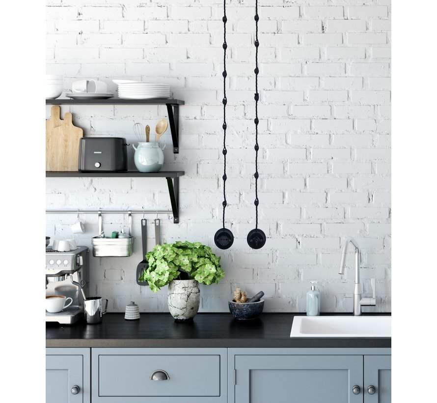 Wand-of plafondbevestiging porselein - Zwart - Ø 18mm voor gedraaid snoer