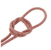 Kynda Light Fabric Cord Sand & Bordeaux - round, linen - zigzag pattern