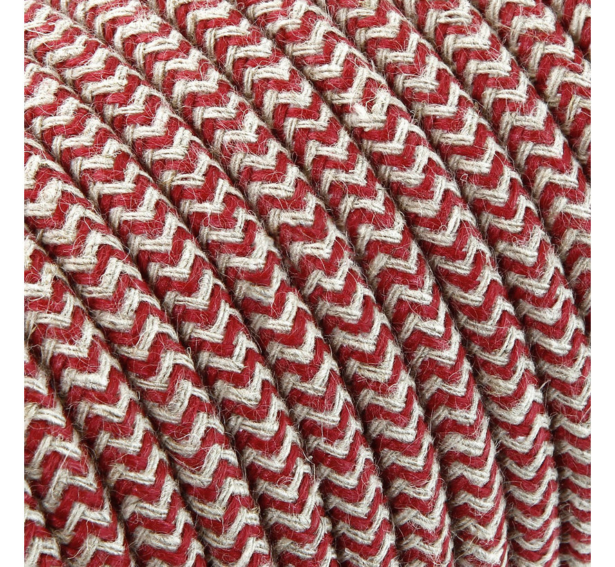 Fabric Cord Sand & Bordeaux - round, linen - zigzag pattern