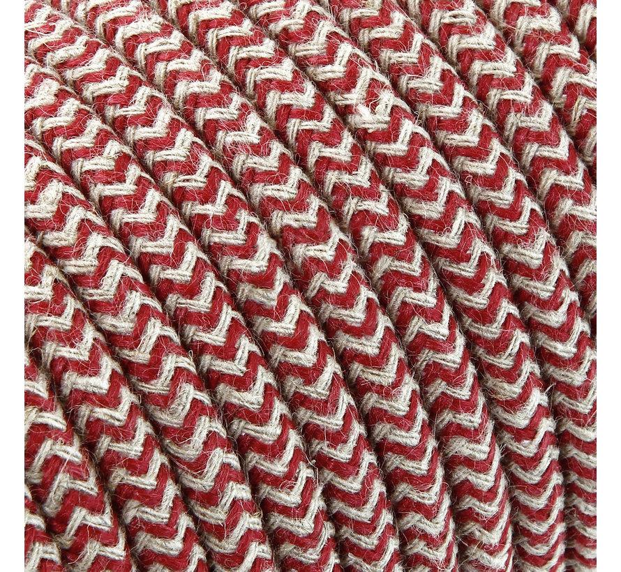 Textilkabel Sand & Bordeaux - rund, leinen | Zick-Zack Muster