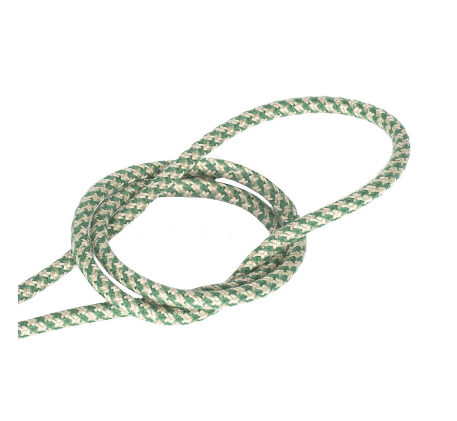 Fabric Cord Sand & Green - round - crossed pattern