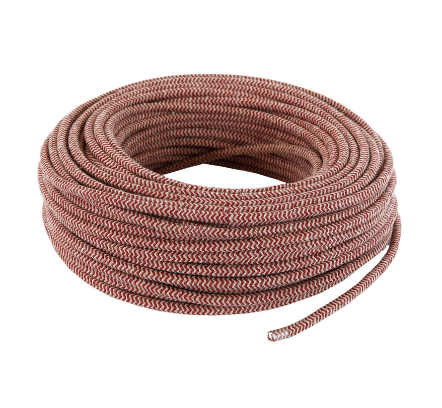 Fabric Cord Sand & Bordeaux - round - zigzag pattern