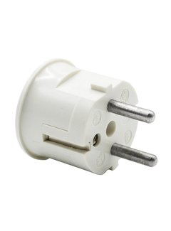 Kaiser Plug round with side entry (angled) white - bakelite look (grounded)