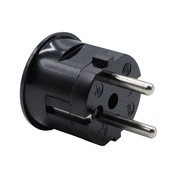 Kaiser Plug round with side entry (angled) black - bakelite look (grounded)
