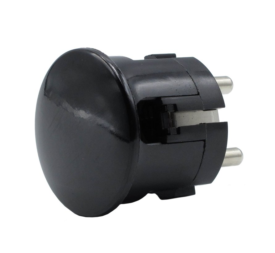Plug round with side entry (angled) black - bakelite look (grounded)