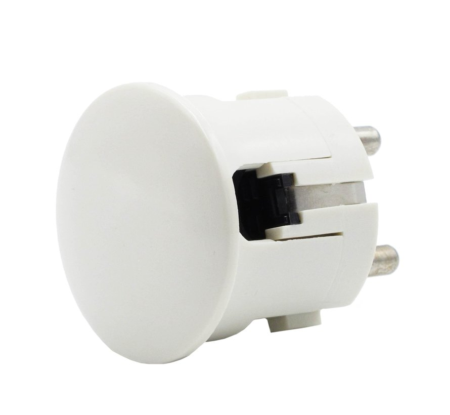Plug round with side entry (angled) white - bakelite look (grounded)