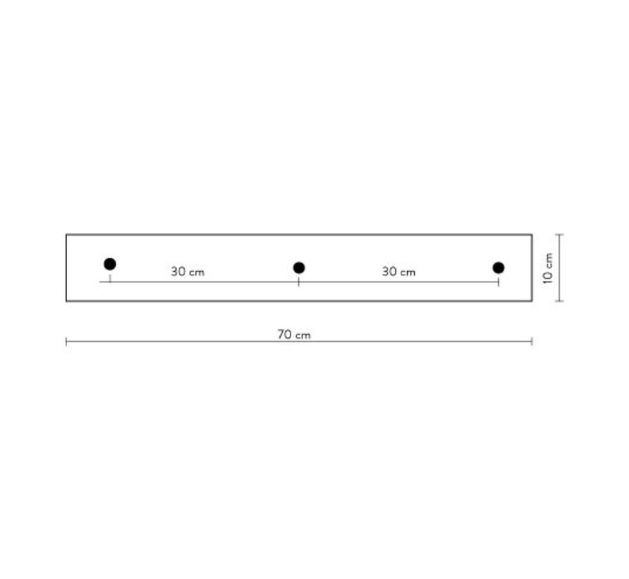 Calex ceiling plate 3-holes - 70cm matt black