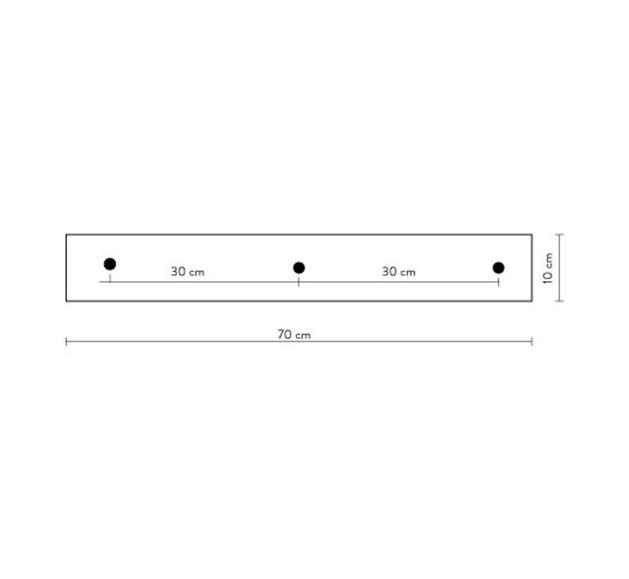 Calex plafondplaat 3-gaats - 70cm mat zwart