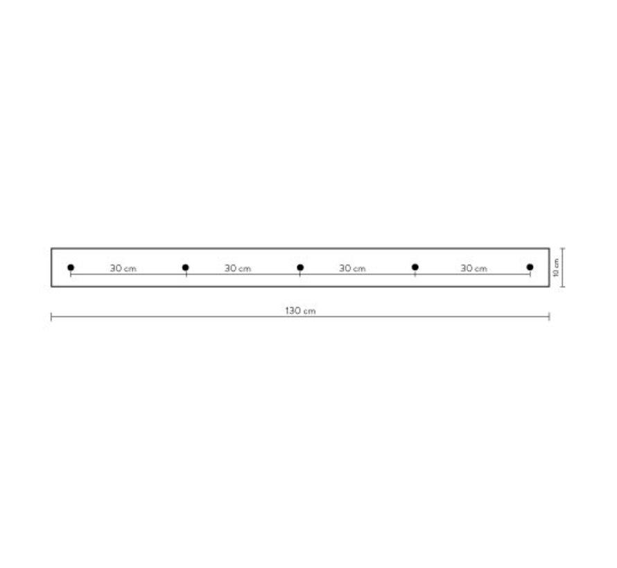 Calex plafondplaat 5-gaats - 130cm mat zwart
