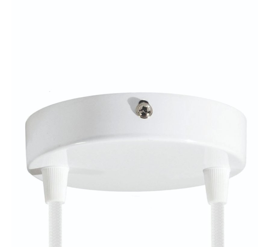 Metal Ceiling Rose 'Levi' White - 2 cords