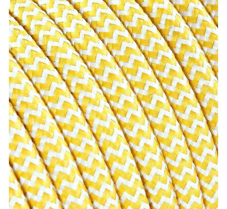 Textilkabel Weiß & Gelb - rund   Zick-Zack Muster