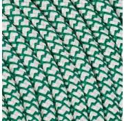 Kynda Light Fabric Cord Cream & Green - round, linen - crossed pattern