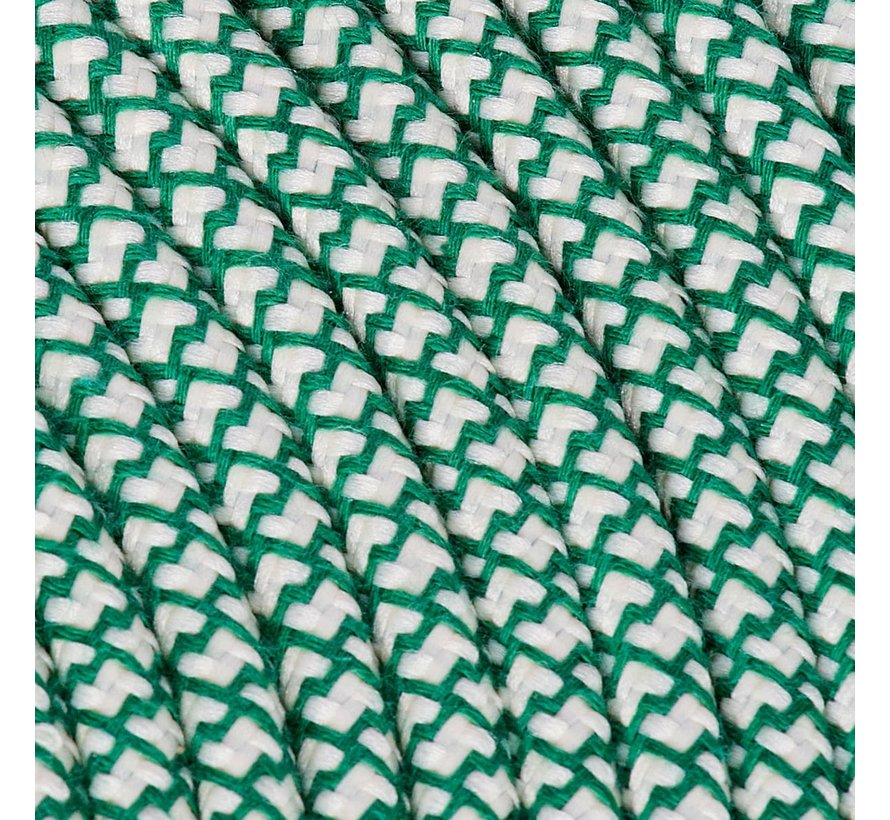 Fabric Cord Cream & Green - round, linen - crossed pattern