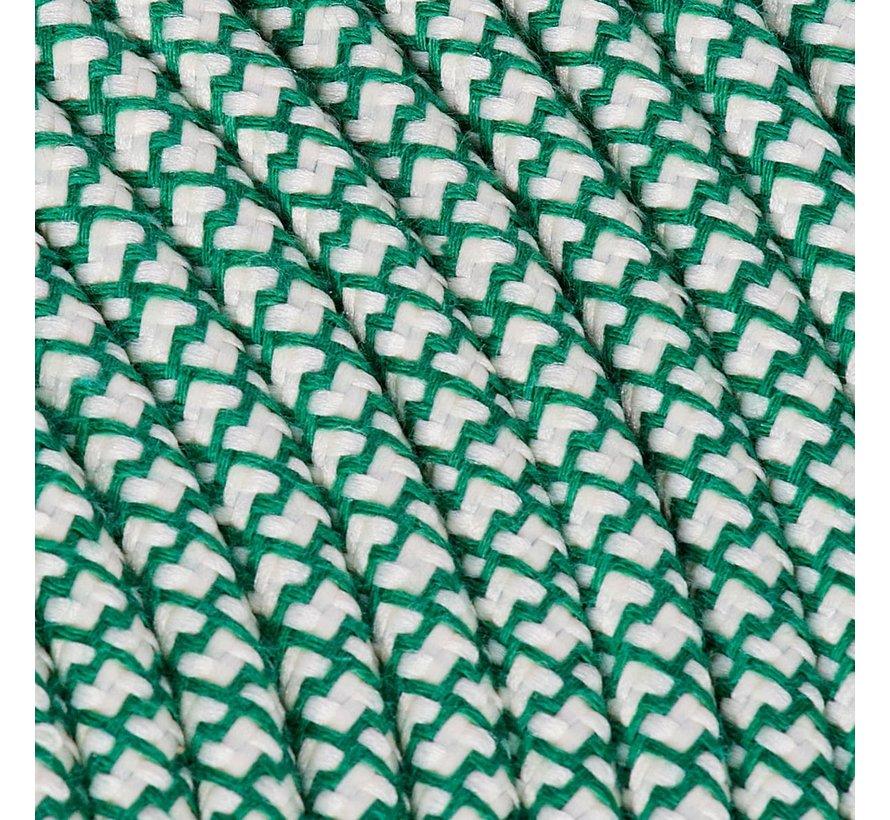 Strijkijzersnoer Creme & Groen - rond, linnen - kruis patroon
