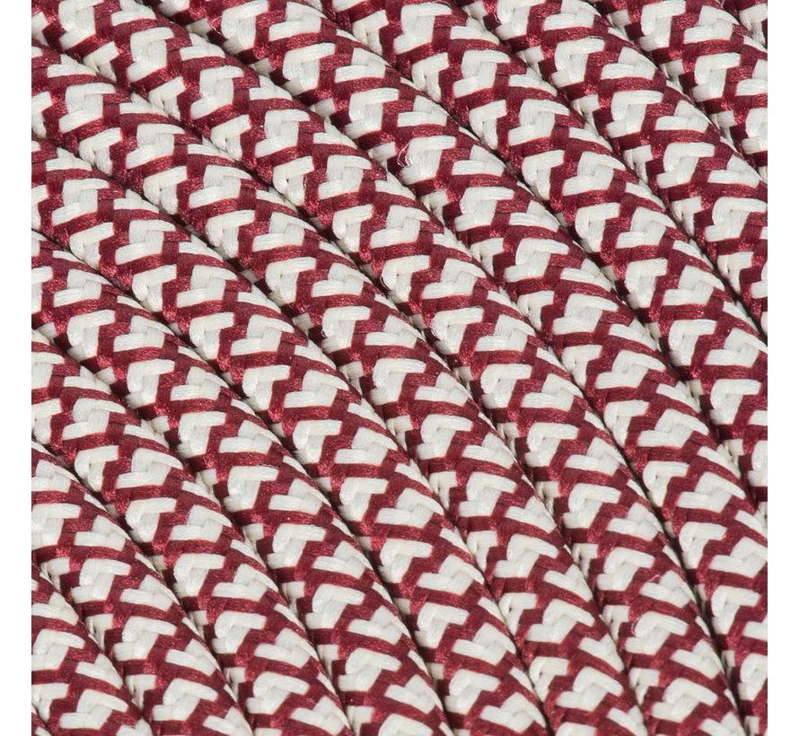 Strijkijzersnoer Creme & Bordeaux - rond, linnen - kruis patroon