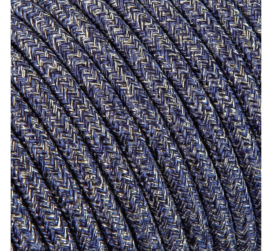 Fabric Cord Blue 'Jeans' (glitter) - round, solid
