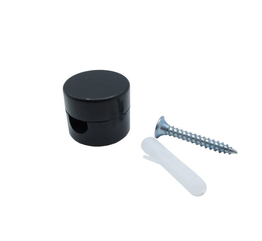 Wand - of plafondbevestiging / Kabelhouder / Snoergeleider | Rond, zwart