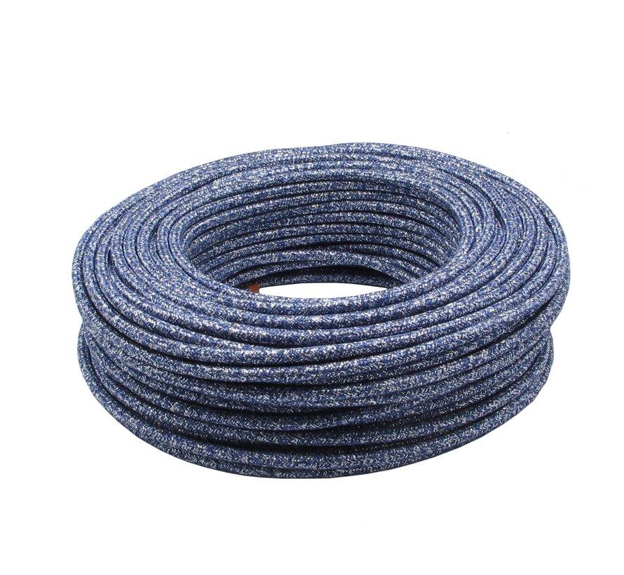 Strijkijzersnoer Blauw 'Jeans' (glitter) - rond, effen stof