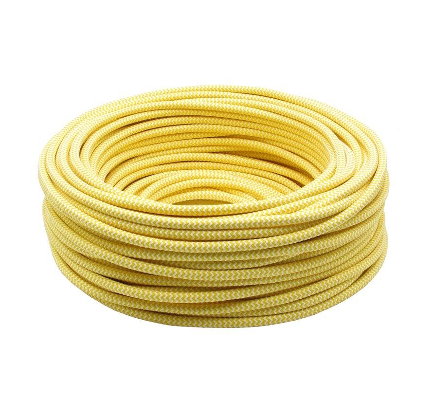 Strijkijzersnoer Wit & Geel - rond - zigzag patroon