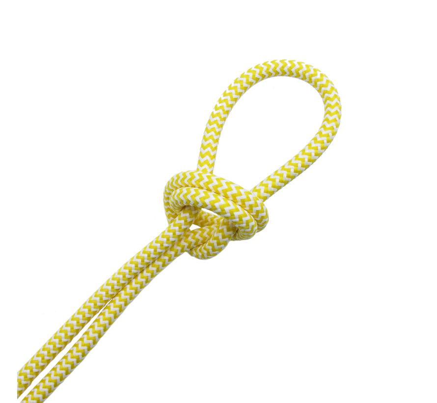 Fabric Cord White & Yellow - round - zigzag pattern