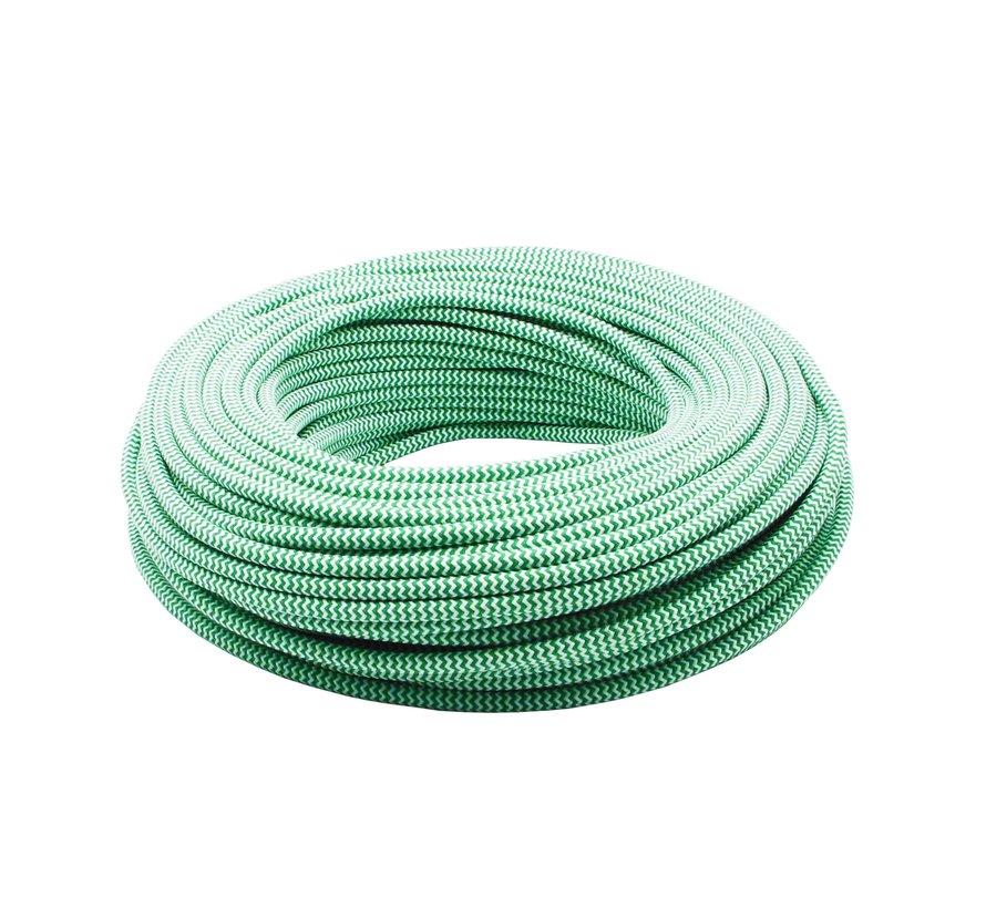 Fabric Cord White & Green - round - zigzag pattern
