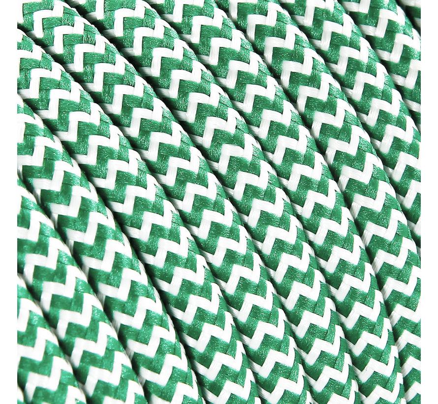 Textilkabel Weiß & Grün - rund | Zick-Zack Muster