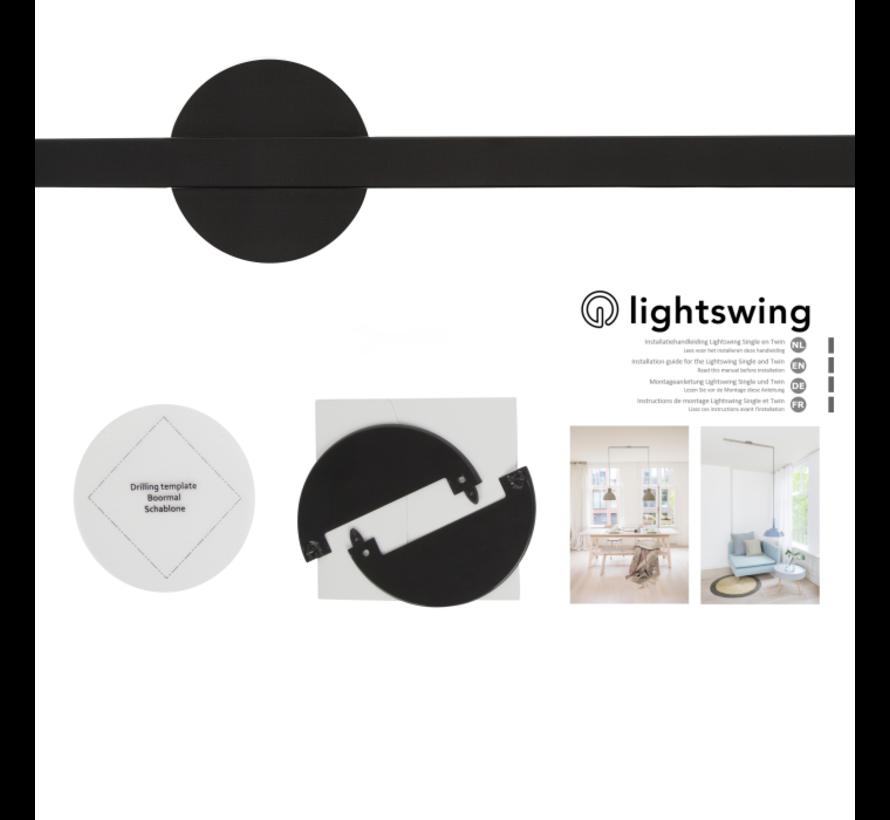 Lightswing Twin Mat Zwart | Ophangsysteem 2 lampen