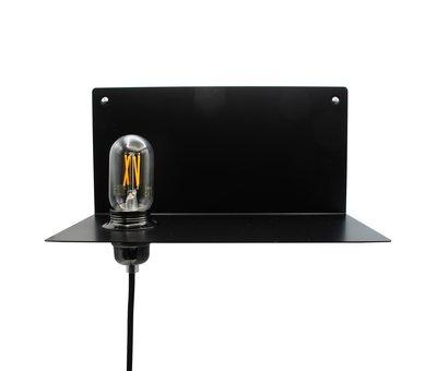 Kynda Light Metalen wandlamp & plank 'Bjorn' | Zwart XL