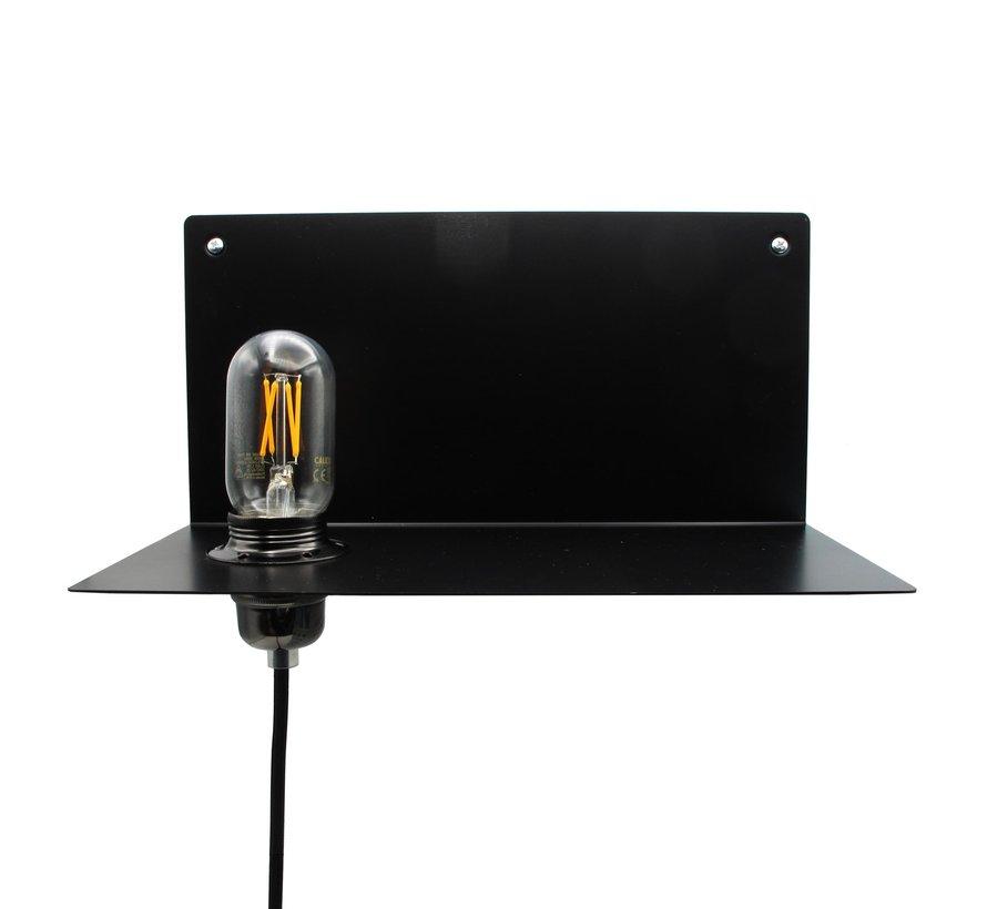Metalen wandlamp & plank 'Bjorn' | Zwart XL