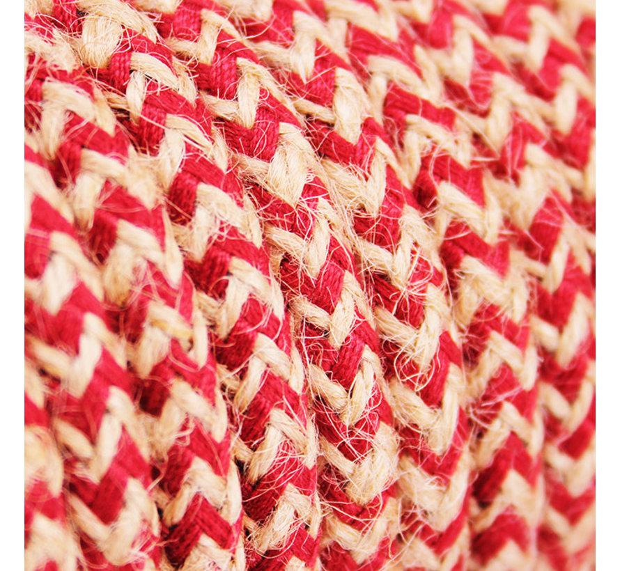 Strijkijzersnoer Jute Raw  & Cherry - gevlochten zigzag patroon