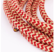 Kynda Light Strijkijzersnoer Jute Raw & Cherry - zigzag patroon
