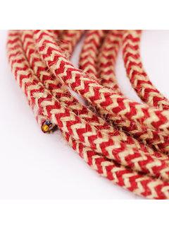Kynda Light Textilkabel Jute / Sackleinen RAW & Cherry | Zick-Zack Muster