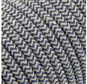 Kynda Light Fabric Cord Sand & Dark Blue - round linen- zigzag pattern
