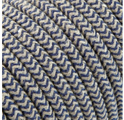 Kynda Light Textilkabel Sand und Dunkelblau - rund, leinen | Zick-Zack Muster