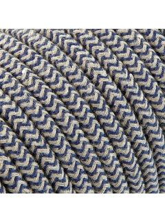 Kynda Light Textilkabel Sand und Dunkelblau - rund, leinen   Zick-Zack Muster
