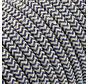 Fabric Cord Sand & Dark Blue - round linen- zigzag pattern