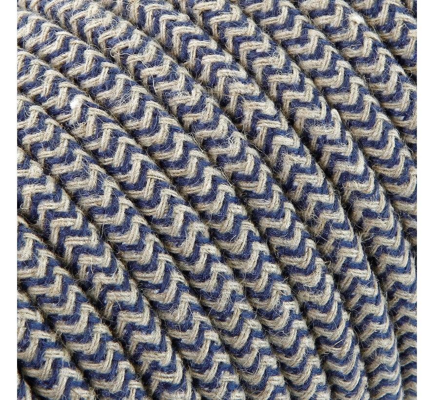 Strijkijzersnoer Zand & Donkerblauw - rond linnen - zigzag patroon
