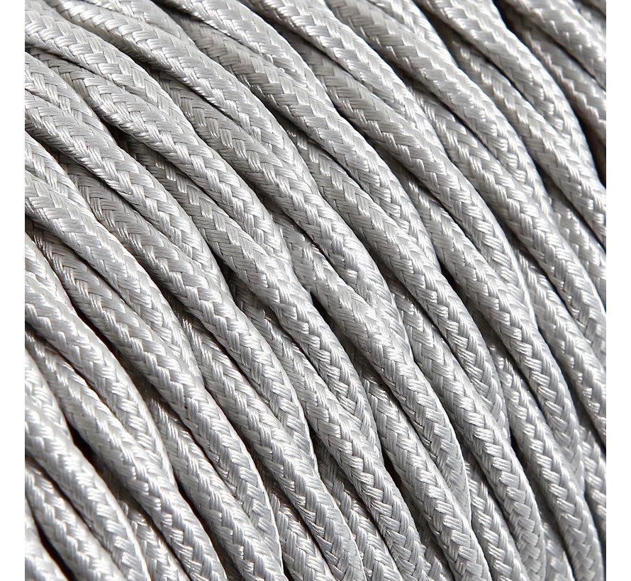 Strijkijzersnoer Zilver - gedraaid, effen stof