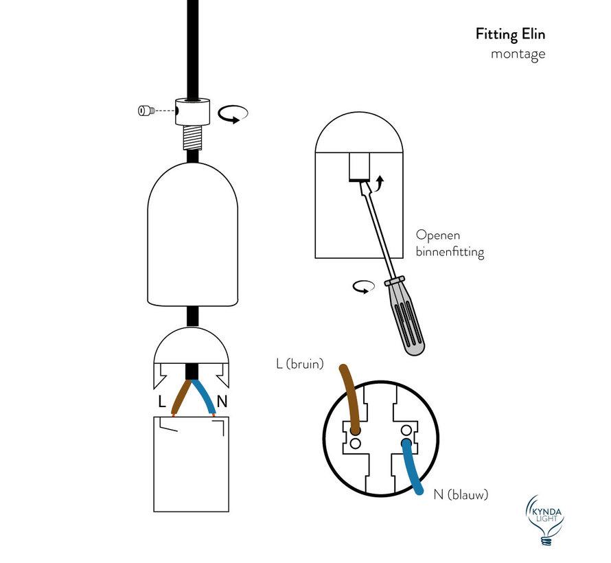 Fitting 'Elin' metaal Donkergrijs E27