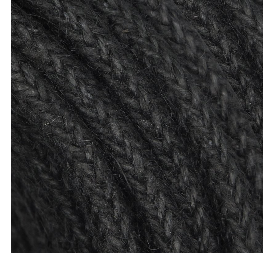 Textilkabel Jute / Sackleinen RAW Schwarz | Geflochten / verdrillt ø 8mm