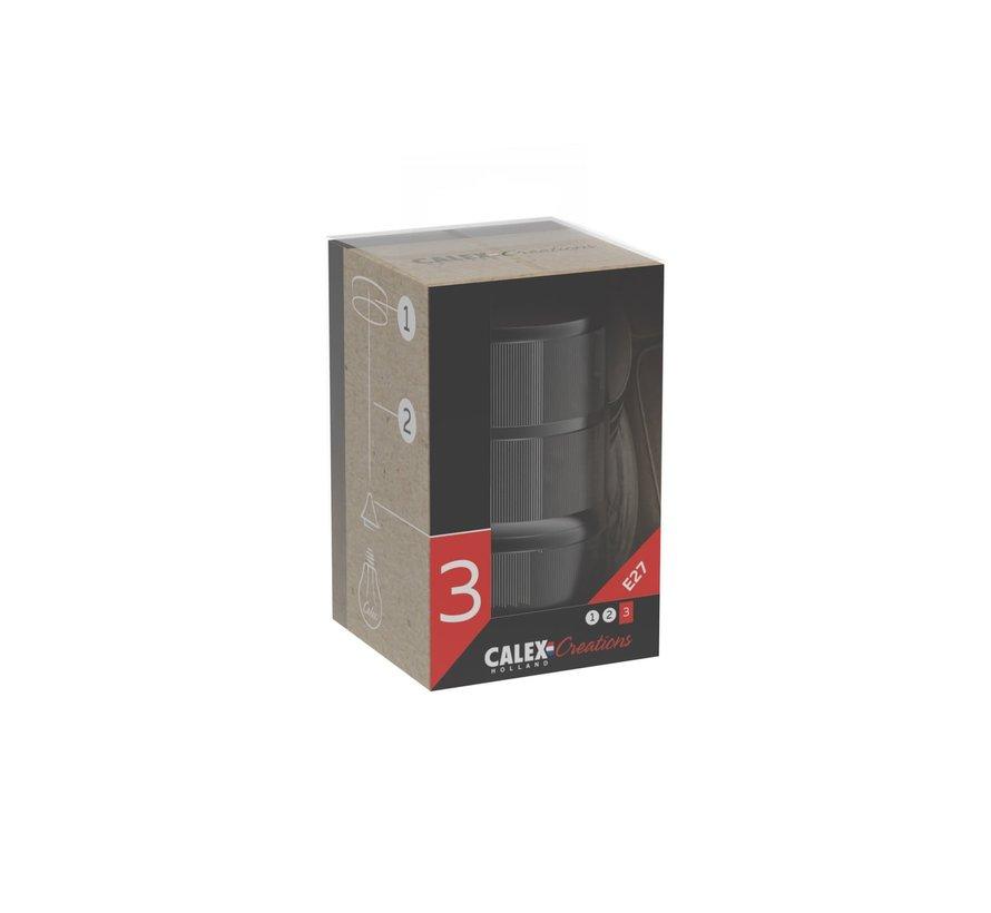 Fassung Calex Metall - 3 Ringe Modell Matt Schwarz - E27