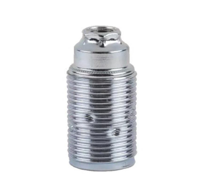E14 Fassung Metall (geerdet) mit Außengewinde | Chrom