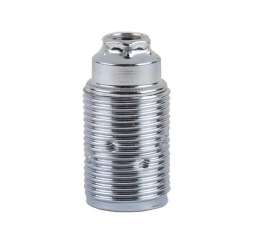 E14 fitting metaal met buitendraad (geaard) | Chroom