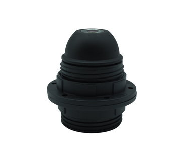 Kynda Light Plastic Lamp Holder with two screw rings and male thread - Black (E27)