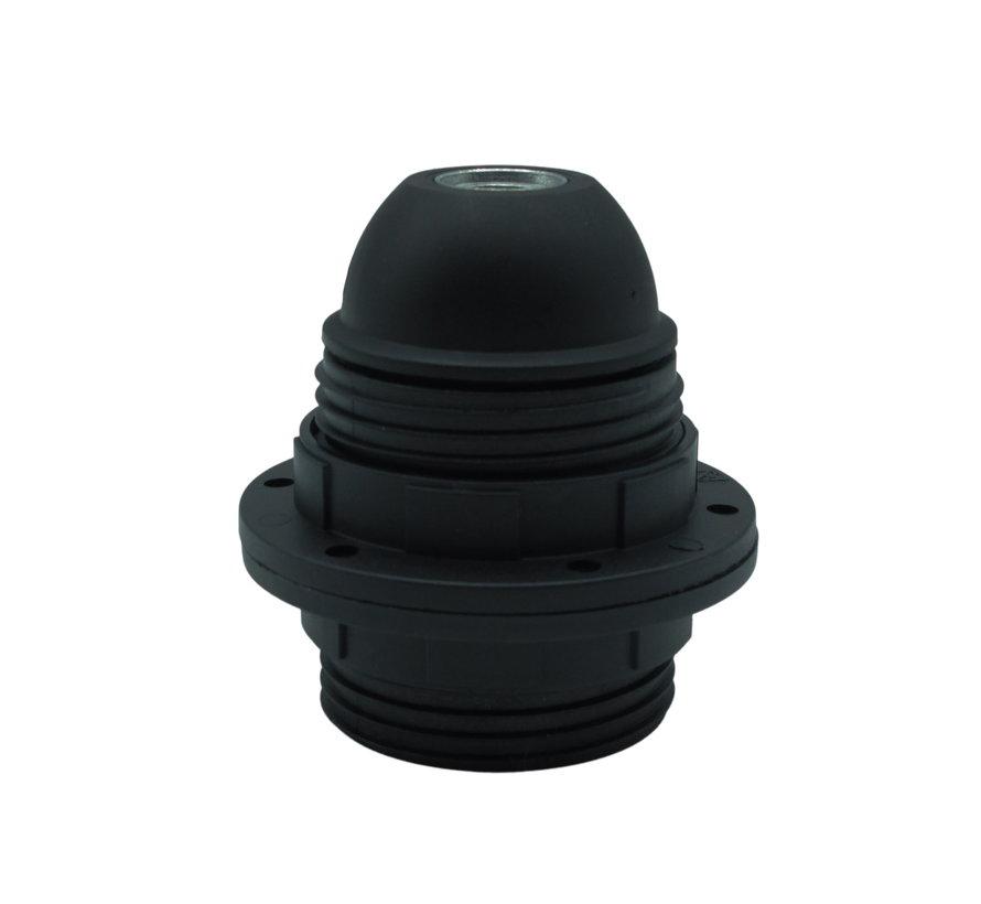 Kunststof Fitting met buitendraad en twee schroefringen Zwart - E27