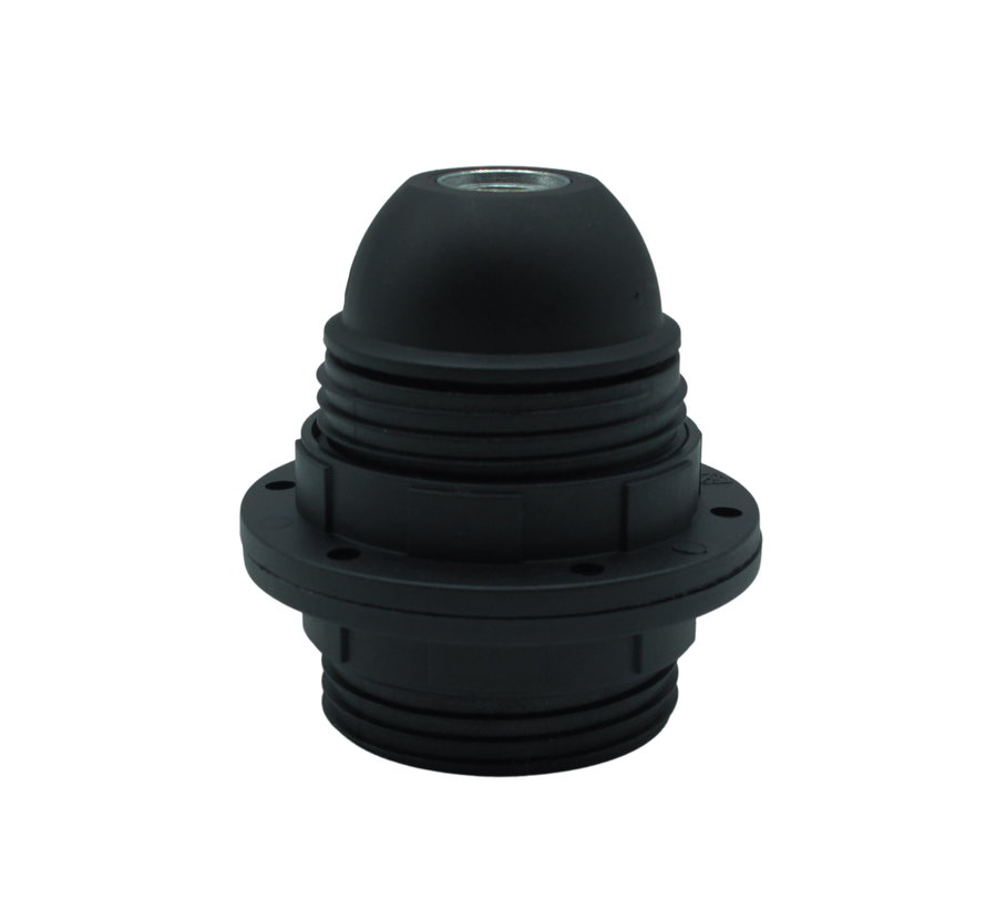 Plastic Lamp Holder with two screw rings and male thread - Black (E27)