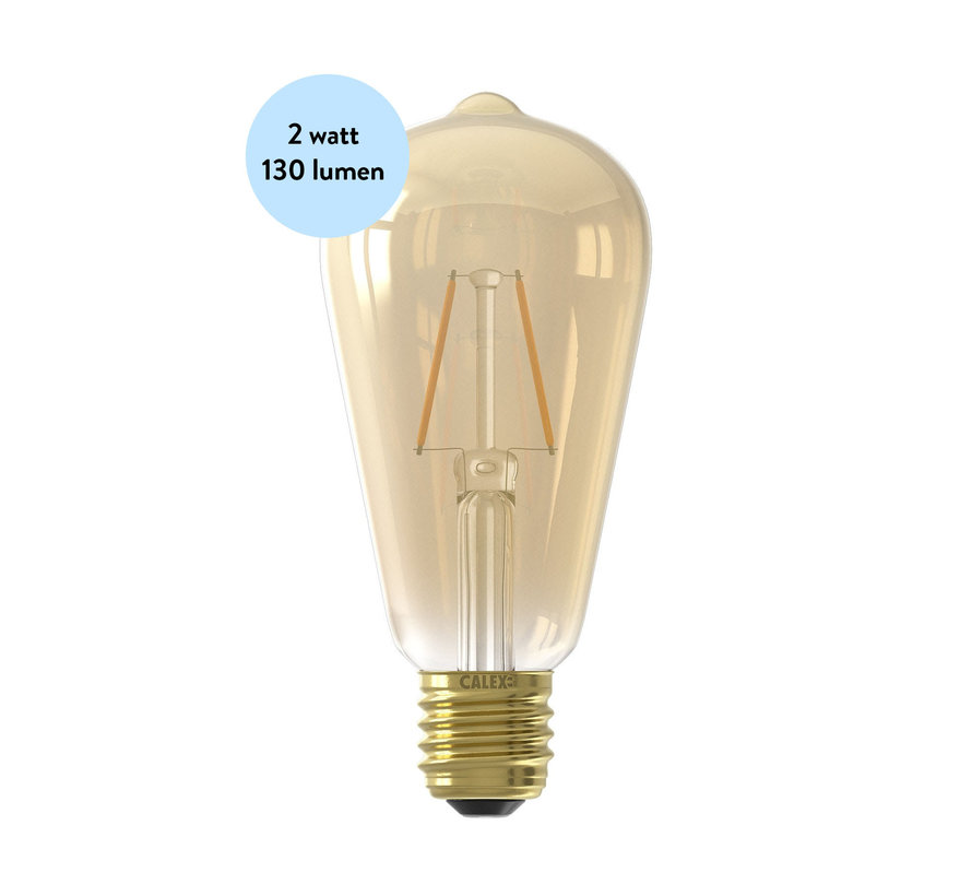 LED lamp Filament - ST64 Squirrel Cage - 2W - 130 lm - E 27 | Goud