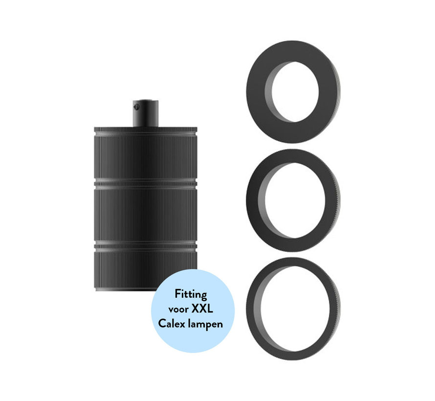 Fassung XXL Metall - 3 Ringe Modell E27 | Matt Schwarz